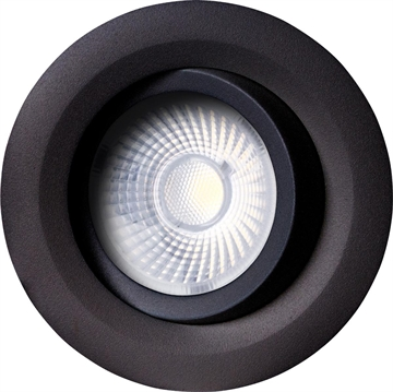 Luzense Gyro Downlight led 8W 2700K IP44 sort dæmpbar
