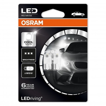 Osram W5W LED COOL WHITE 1W 12V wedge W2,1X9,5D 6000K 2-pak
