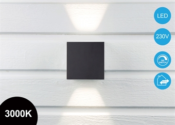 Quadra Pro 10x10cm Up/Down LED Væglampe Sort IP65