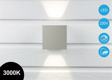 Quadra Pro 10x10cm Up/Down LED Væglampe Grå IP65