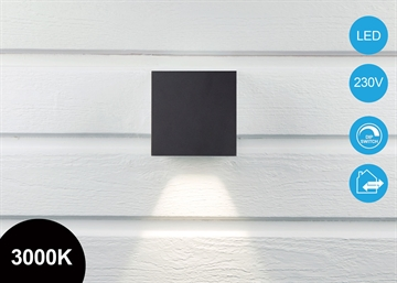 "Quadra Pro ""Down"" 10x10cm LED Væglampe sort IP65"